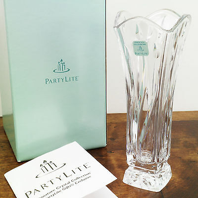 PartyLite P7056 Signature Crystal Collection Bud Vase 24% Full Lead Made in USA
