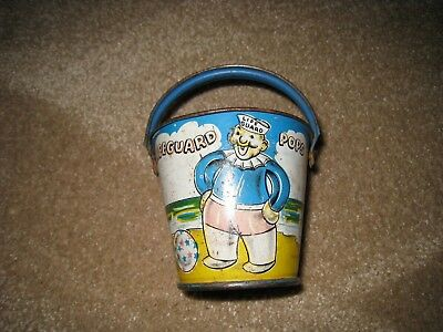 Vintage metal painted candy bucket - Lifeguard Pops - E. Rosen Co. 1940's WWII