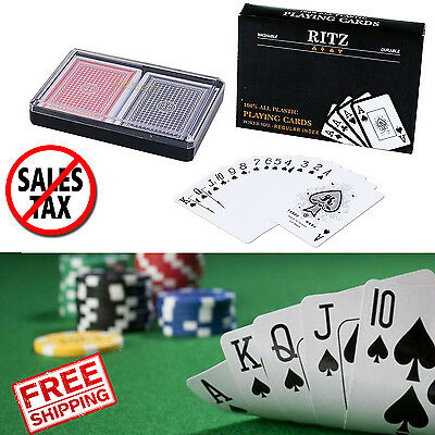 Washable Plastic Playing Cards Waterproof 2-Decks Poker Size 52 Cards 2 Jokers