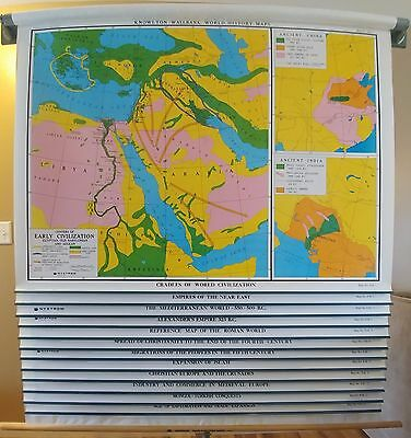 Nystrom Pull Down 12 Layer World History Maps 112KW-E School Classroom Vintage