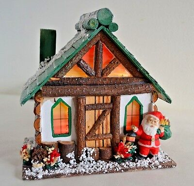 Vintage Christmas Village Log Wood Cabin House Santa Stained Glass Windows 50s
