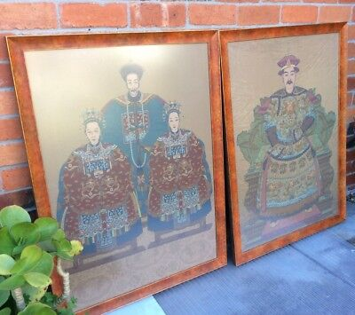 2 Large Machine Tapestrys Of Seated Chinese Emperor &   3 Family Dynasty