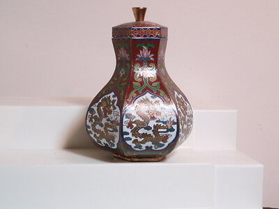 small decorative enameled cloisonné urn middle eastern style 4 inches high