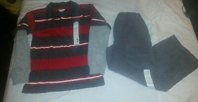 NWT Boys Fall Shirt & Pants Set Outfit, corduroys cords, Size 5/6 FREE SHIPPING!