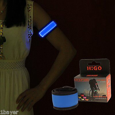 Higo LED Slap Armband Light Slap Wrap Bracelet Glowing Runner Wrist Band Blue