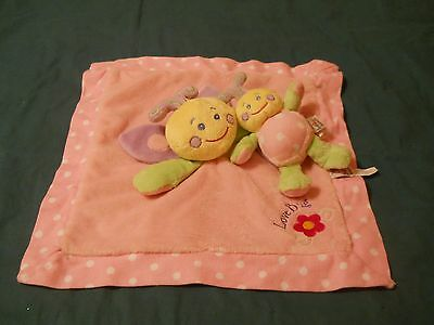 Baby Ganz pink Love Bug security blanket