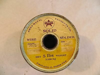 Vintage 5 Pounds Ames 95/5 Alloy Solid Wire Solder #10