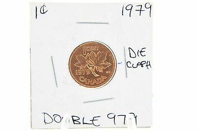Canada One Cent Penny- 1979 Error Coin - Double 979 + Hanging 9
