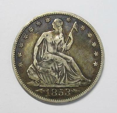 1853 Seated Liberty Half Dollar *Variety 2 w/Arrows & Rays * High Grade *