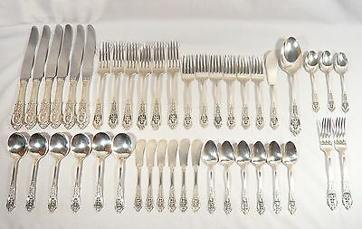 43 Pieces STERLING Silver ROSE POINT Wallace  6 Place Settings of 6 Pieces + 7