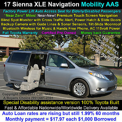 2017 Toyota Sienna XLE AAS Auto Access Seat Mobility pkg. Navigation Navigation+Live Traffic, Leather, Rear Camera, Bluetooth, Toyota Full Warranty!!