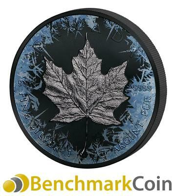 2017 Deep Frozen Maple 1 oz $5 Fine Silver Coin - Ruthenium + Color