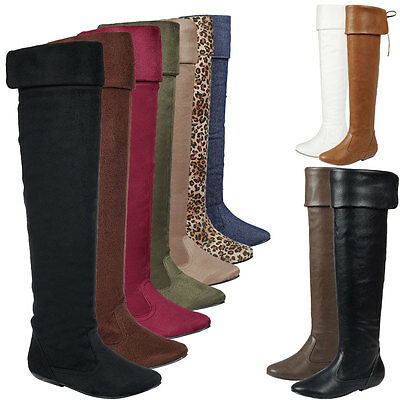 ae0b6bb71714a NEW WOMEN REAR Lace Up Fold-able Cuff Knee High Over The Knee Slouchy Flat  Boots