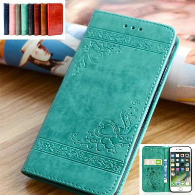 Retro Magnetic Flip Leather Wallet Card Stand Case Cover For iPhone 5 7 8 XS Max