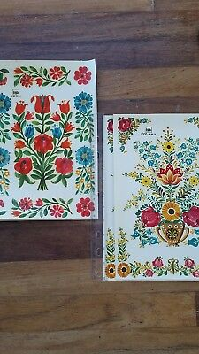 5 sheets Vintage FOLK ART DECALS TRANSFERS Original bsb Decor 02.541 & 02.552
