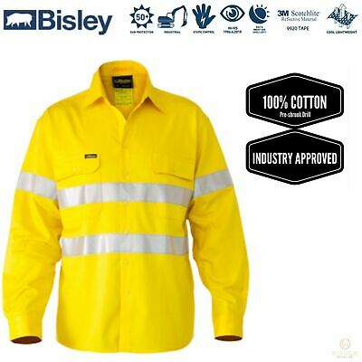 BISLEY 3M Taped Hi Vis Cool Vent Long Sleeve Industrial Shirt Workwear Cotton