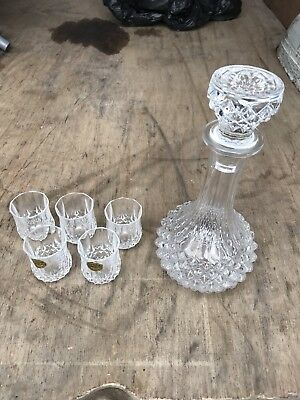 crystal whiskey gin decanter with 5 glasses cristal d. Black Bedroom Furniture Sets. Home Design Ideas