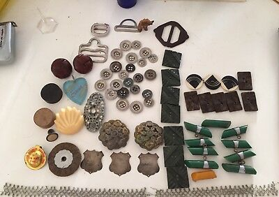 Bakelite  Badges Art Deco Shaped Buttons Clips And Wotnots