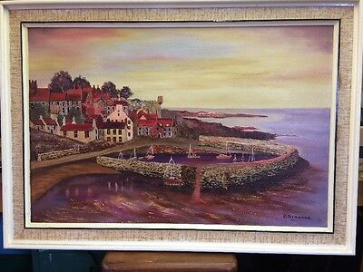 J. Strange Painting Of Crail Harbour Fife Scotland