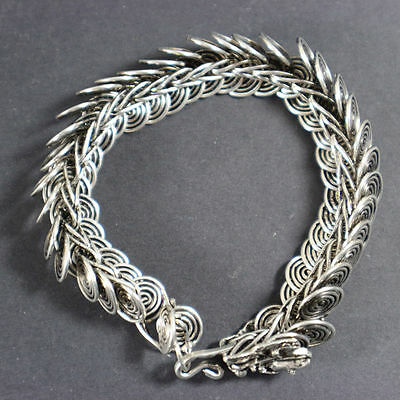 old china handwork Tibet silver made dragon shape bracelet with dragon scale