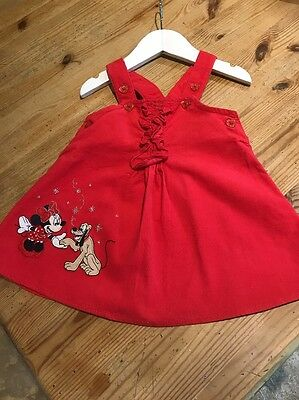 Disney Store Lovely Girls Minnie Mouse Red Dress Age 3-6 Months 100% Cotton