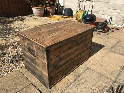 Vintage Wood Blanket box, Antique Trunk
