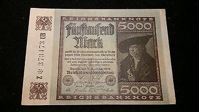 1922  5000 Marks Great Historic Banknote from Germany  Nice Condition      # 605