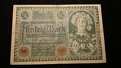 1920  50 Mark Great Historic Banknote from Germany        # 606