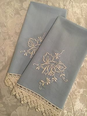 Beautiful Crochet Lace Edged Blue Vintage Hand Towels White  Embroidery