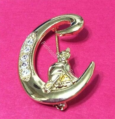Cat Initial *c* Brooch W/ Crystals Jonette Original!