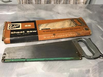 Old Vintage Eclipse 55 Metal Sheet Hand Saw Metalwork Tool Sheffield England Box