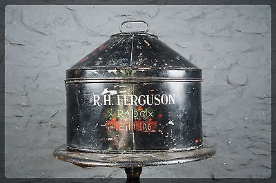 Antique Military Metal Hat Box Decorative Shape & Interesting Markings FERGUSON