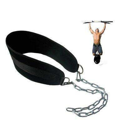 Grofitness Pull-up Belt Weighted Dip Belt with Chain Double D-ring Weightlifting