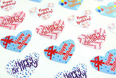 Happy Birthday Heart Gift /& Present Labels Coloured Stickers for Cards HBW66593