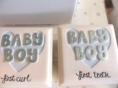 Baby Boy gift set of two 1st curl and 1st tooth boxes. Resin boxes..