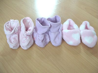 3 x Pairs of 3-6 Months Baby Girls Booties / Slippers - Pink, Lilac & White