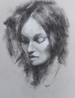 Original Portrait Drawing On Strathmoor Paper Signed Fine Art