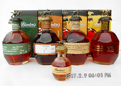 Blanton's Single Barrel Bourbon Whiskey Full Set Of 4 Boxed Plus Rare Mini Too!!