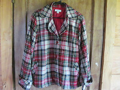 Coldwater Creek Red Green Blue Tan Plaid Lined Wool Blend Blazer size 20W