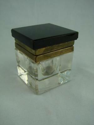 Stylish Early 20Th Century Glass & Brass Art Deco Inkwell / Ink Well