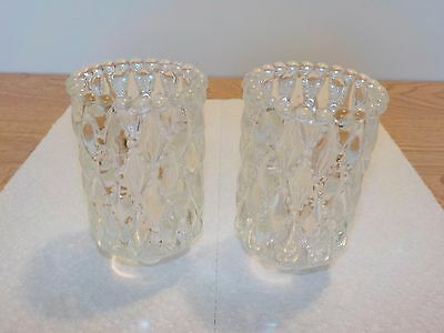 2 Clear Quilted Diamond Bead Votive Cups Sconce Candle Holders