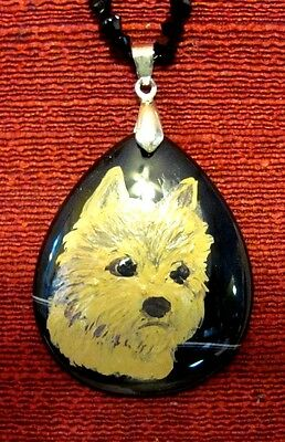 Norwich Terrier hand painted on Black Onyx Agate pendant/bead/necklace