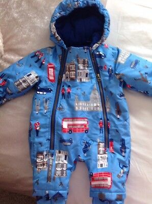 beautiful baby boys JOULES london themed SNOWSUIT age 3-6 mths