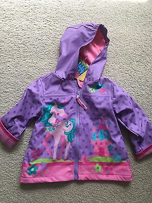 Stephen Joseph Rain Coat Unicorn Toddler Girl Rain Coat Purple Pink Size 2T