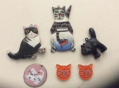Vintage Collectible Kitty Cat Necklace Pendants Black, Orange, White, Grey 5 Pcs