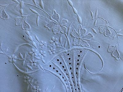 Beautiful Linen  Whitework Tablecloth