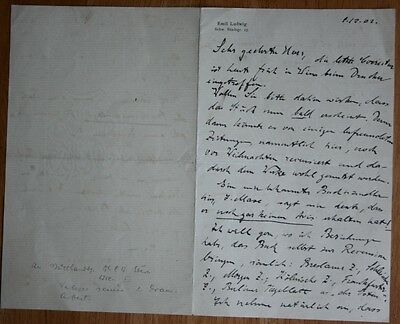 German-Swiss Author Emil Ludwig lengthy Autographed Letter