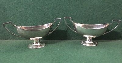 Pair Of Antique Silver Plated Trophy Form Salts
