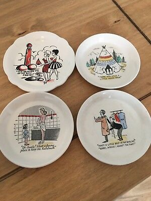 4x Vintage Ash Trays Naughty Adult Humour Made In England