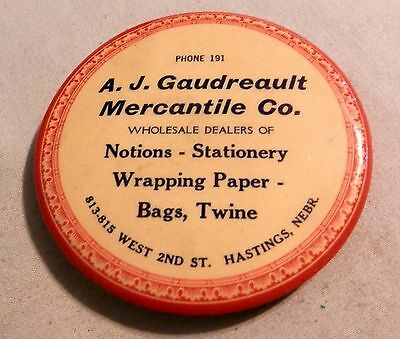Vintage Gaudreault Mercantile notions paperweight local advertising mirror NE